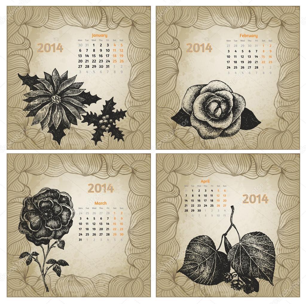 Calendar Vintage Vector : Vintage style year vector calendar hand drawn ink