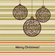 Vector Christmas card with fir tree decorations — Stockvectorbeeld