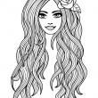 Beautiful long-haired girl outline drawing. Vector illustration — Stock Vector