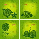 Colorful 2014 year vector calendar. Floral botanical series. Par — Stock Vector