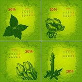 Colorful 2014 year vector calendar. Floral botanical series. Par — Stock Vector