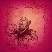 Beautiful hand drawn dotted ink hibiscus flower vector card — Vetorial Stock