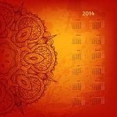 2014 jahr vektor calendar.arabesque auf künstlerischen hintergrund — Stockvektor
