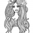 Black and white outline vector long-haired girl — Vektorgrafik