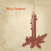 Weihnachtskarte jahrgang tinte stil. vektor hintergrund für ihre des — Stockvektor