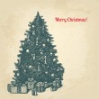 Vintage ink style Christmas card. Vector background for Your des — Stock Vector #35506447