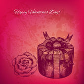 Artistic vector valentine background with ink style hand drawn r — Stock Vector