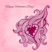 Artistic vector valentine background with ink style heart doodle — Stock Vector