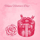 Artistic vector valentine background with ink style hand drawn r — Vector de stock
