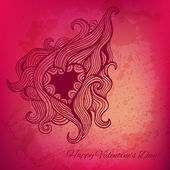 Artistic vector valentine card with heart doodle — Stock Vector