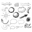 Vector set of hand drawn doodle arrows, speech bubbles etc. — Stock Vector