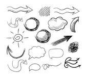 Vector set of hand drawn doodle arrows, speech bubbles etc. — Stock Vector