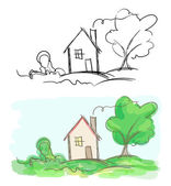 Vector sketches of village house and tree. Black and white and c — Stock Vector