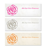 Hand drawn rose vector artistic banners — Stock Vector