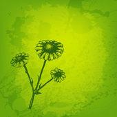 Künstlerische Vektor-Karte mit Tinte Stil Blume — Stockvektor