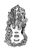 Decorative stylized vector hand drawn guitar and flowers — Stock Vector