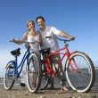 Couple with Bikes at the Beach — Stock Photo #9498065