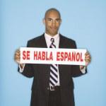 Businessman holding sign. — Stock Photo #9552462