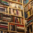 Secondhand bookstore shelves corner — Stock Photo