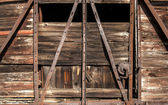Old railway wooden wagon side — Stock Photo