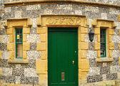 Landhuis stonewall, deur — Stockfoto