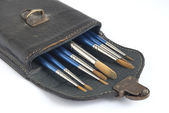 Leather case and paint brushes — Stock Photo