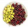 Stock Photo: Bowl of organic cherries and pears