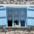 Blue wooden window — Stock Photo