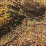 Wooden mountain farm fence — Stock Photo