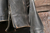 Leather jacket sleeve closeup — Stock Photo