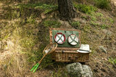 Maleta de picnic de mimbre — Foto de Stock