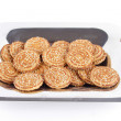 Chip Cookies On Baking Sheet Isolated Over White Background — Stock Photo #13529708