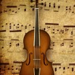 Stock Photo: Violin on note background