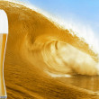 Royalty-Free Stock Photo: Gold beer glass over a big beer wave.