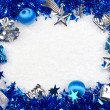Christmas blue and silver frame — Stock Photo #13530985