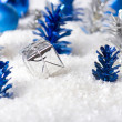 Silver and Blue Christmas background — Stock Photo