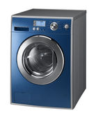 Blue Isolated washing machine on a white background — Stock Photo