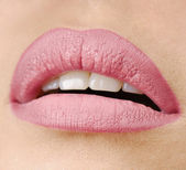 Close-up portrait of young beautiful woman's lips zone make up — Stock Photo