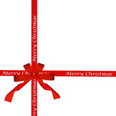 Red ribbon bow isolated on white. holiday background. — Stock Photo