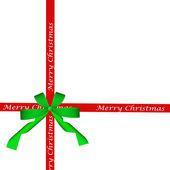 绿色弓和孤立的红色圣诞丝带 — 图库照片