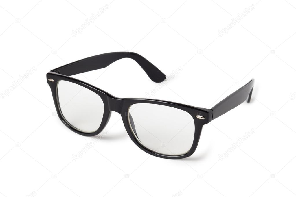 Photo of black nerd glasses isolated on white — Stock Photo #17188395