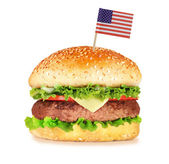 Big hamburger isolated on white — Stock Photo