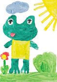 Childrens drawings - frog — Stock Photo