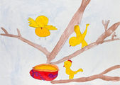 Preschool child's painting — Stock Photo