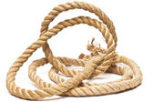 Ship rope and knot isolated on white background — Stock Photo