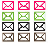 Pink Lime Brown & Black Email Envelopes — Stock Photo