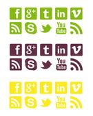 Lime Purple & Yellow Social Badges — Stock Photo