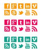 Оранжевый Розовый & синий социальных значки — Стоковое фото