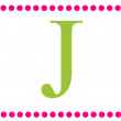 Stock Photo: J Pink & Green Rectangular Monogram