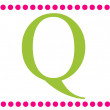Q Pink & Green Rectangular Monogram — Stockfoto #12205121
